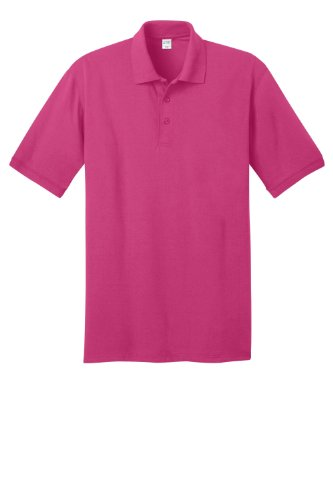 Port & Company Men's Big And Tall Knit Polo Jersey 4X Tall- Sangria