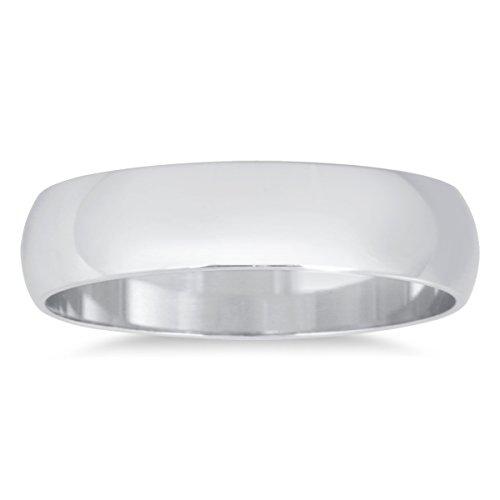 4mm Domed Wedding Band in 10K White Gold ()