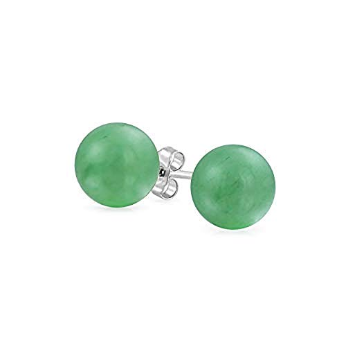 Earring Ring Jade (Tisoro Sterling Silver Green Jade Ball Stud Earrings in 4mm, 6mm and 10mm - Jade Earrings - Hypoallergenic Earrings (8mm))