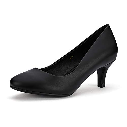 - IDIFU Women's RO2 Basic Round Toe Mid Heel Pump Shoes (Black PU, 7.5 B(M) US)