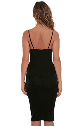 Midi Dress Backless Club Bandage Sleeveless Evening DONWORD Velvet Cocktail Dress Bodycon Women's Black Party wRqXSxna