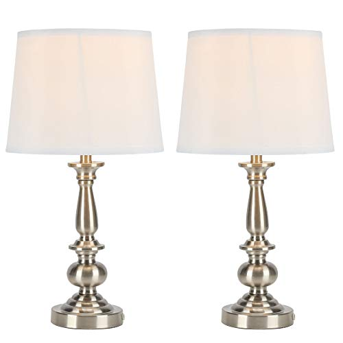 CO-Z Modern Table Lamp Set of 2 Silver, Metal Desk Lamp in Brushed Steel Finish and White Fabric Shade, 22 Inches in Height, Bedside Lamps for Office Bedroom Nightstand Accent, ETL. (Silver)