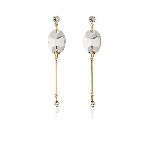Diamond Fancy Drop - mnefel Fancy Diamond Studded Dangle Earrings for Woman