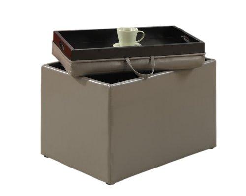 Storage Ottoman Round Tray (Convenience Concepts Designs4Comfort Modern Accent Storage Ottoman)