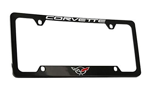 Chevrolet Corvette C5 Black Coated Metal Bottom Engraved License Plate Frame