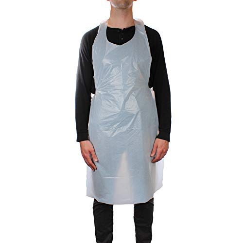 Multipurpose Disposable Aprons - Waterproof Polyethylene Plastic Apron for Arts & Crafts, Painting, and Cooking - (25 pack)