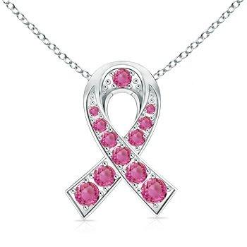 Angara Heart-Shaped Pink Sapphire Ribbon Pendant with Diamond cw0P1