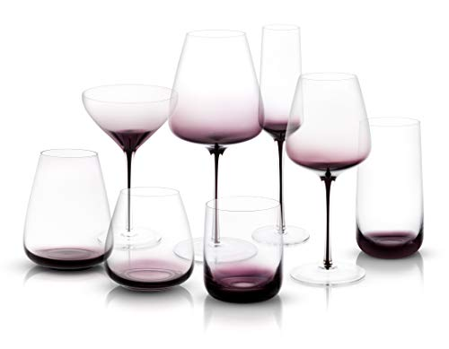 JoyJolt Black Swan Collection,Premium Lead Free Crystal Glassware, Set Of 16 (Glasses End Champagne High)