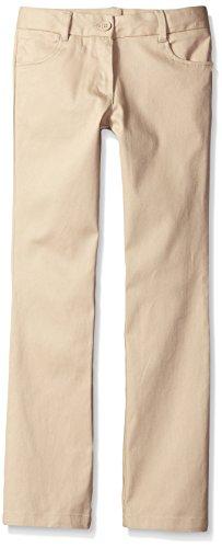 Nautica Big Girls' Uniform Bootcut Twill Pant, Khaki, ()