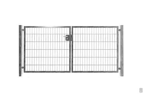 Pfosten Doppelfl/ügeltor Einfahrtstor Gartentor Tore Hoftor verzinkt 350cm x 123cm inkl