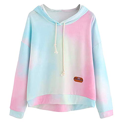 - KIKOY Long Sleeve Women Hoodie Print Patchwork Sweatshirt Pullover Tops Blouse Blue