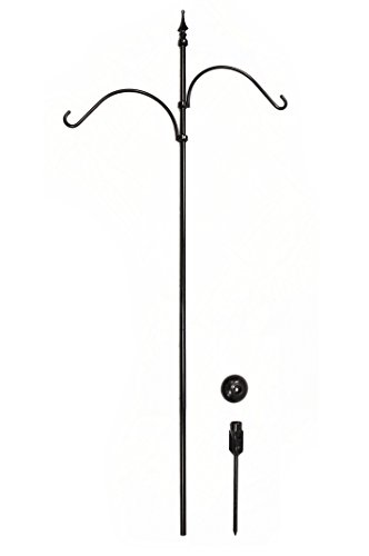 Hang Tuff Hangers Non Leaning, Double or Single Shepherd's Hook, 87'' Tall Above Ground, Raven Black, by Hang Tuff