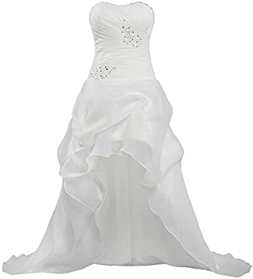 ANTS Women's Casual Organza High Low Wedding Dresses Bridal Gown