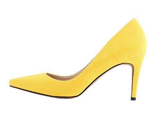 Women's Fashion Pointy Toe Stiletto Slip On Pumps High Heels Shoes yellow velveteen