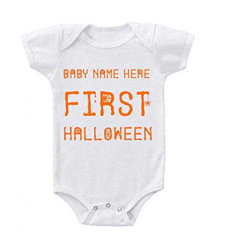 Unisex Baby Custom My First Halloween Add Your Baby's Name Bodysuit Romper 0-3 Months White