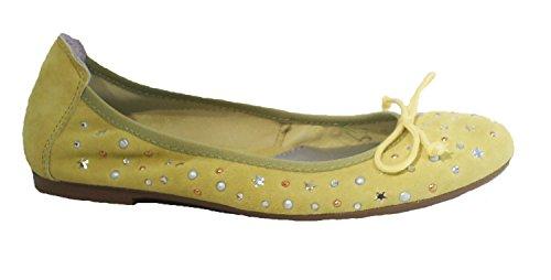 Leder Nieten Acebo's Ballerinas Gelb Flats IraqxTqE