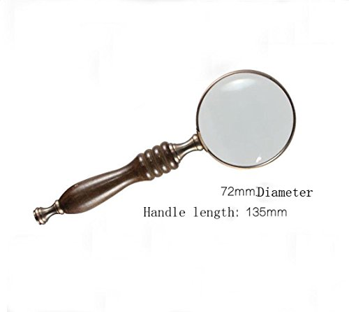 Magnifying Glass Hand-held portable reading black sandalwood handle retro optical glass lens reading Magnifier 10