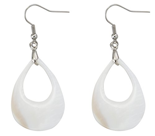 Natural Shell Earrings - MagicYiMu Bridal Teardrop Dangle Hook Earrings Adorned with Natural Freshwater Shell Jewelry for Women