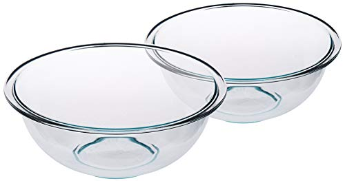 Pyrex SYNCHKG053132 Prepware 2-1/2-Quart Rimmed Mixing Bowl, Clear (Pack of 2), 2-1/2 Quart,