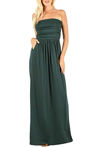 - Bon Rosy Women's Strapless Ruched Cover-Up Casual Jersey Maxi Dress w/Side Pockets Hunter Green L