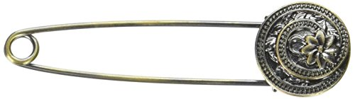 (LoRan 40015 Shawl Pin with Flower Swirl, Brass)