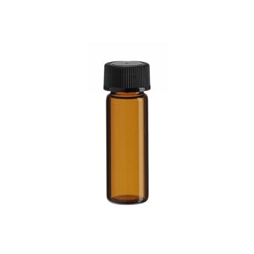 Premium Vials B4702-12 Glass Vial with Screw Cap, 1 Dram Capacity, Amber (Pack of 12)