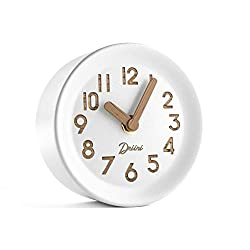 Driini Wooden Desk & Table Analog Clock Made of Genuine Pine (White) - Battery Operated with Precise Silent Sweep Mechanism