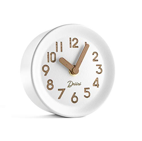 Driini Wooden Desk & Table Analog Clock Made of Genuine Pine (White) - Battery Operated with Precise Silent Sweep… - MINIMALIST PINE WOOD CLOCK - Perfect decor for your office desk, bedroom table, bathroom counter, or living room mantel PRECISE, QUIET & NON-TICKING - Precision quartz sweep inner movement mechanism quietly maintains the precise time SOLID WOOD FRAME - Sturdy 100% pine wood frame and face. Clocks hour and minute hands made from solid unvarnished wood. - clocks, bedroom-decor, bedroom - 31Le6gC%2BVUL -