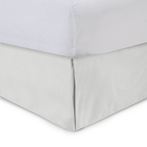 Harmony Lane Tailored Bedskirt - 18 inch Drop, Bone, Cal King Bed Skirt with Split Corners (Available in and 16 Colors)