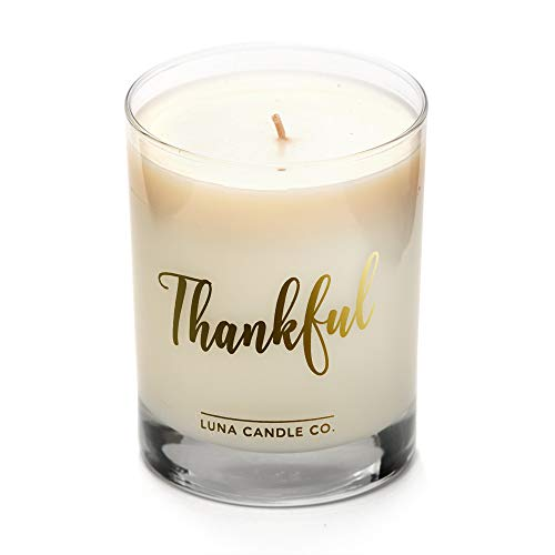 LUNA CANDLE CO. Easter Basket, Thankful, Apple Cinnamon Soy Jar Candle, 11oz. Clear Glass, Up to 110 Hours of Burn Time, Single Wick, Fall Scent, Aromatic Baked Green Apple, Handcrafted ()