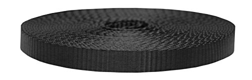 (Strapworks Colored Flat Nylon Webbing - Strap for Arts and Crafts, Dog Leashes, Outdoor Activities – 3/4 Inches x 20 Yards, Black)