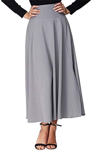 BLACKMYTH Femme Taille Haute Arrire Arc OL Travail Plisse Longue Maxi Jupes avec Poches Gris