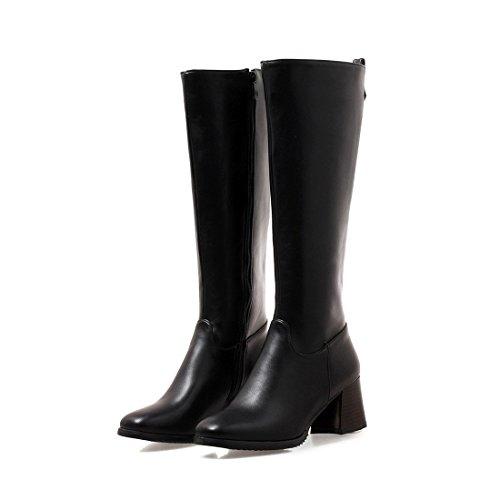 black Confort y Botas Botas Mujer de Altas y DEDE Tacones Europeo Botas Sandalette Tubo Altos de Americano ásperas Tt5OqxnB