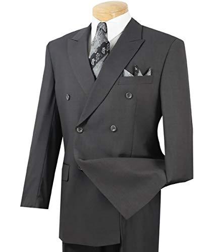 VINCI Men's Premium Solid Double Breasted 6 Button Classic-Fit Suit Heather Gray   Size: 40 Short / 34 Waist (Stripe Waist Short)