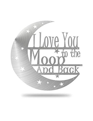 Steel Roots Decor Powder Coated Metal I Love You to The Moon and Back Wall Art Laser Cut Holes 18 inch (Silver) (Steel Decor)