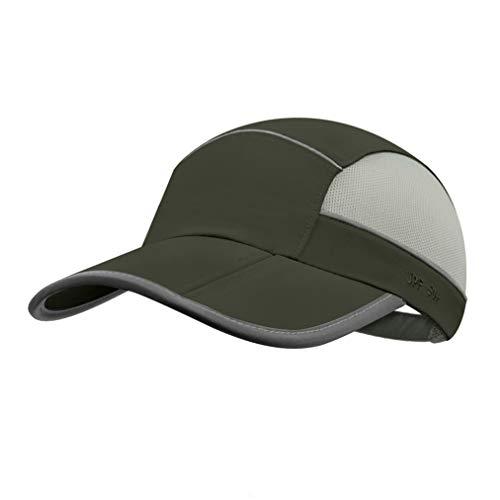 UPF 50 Mens Outdoor Hat Reflective Folding Mens Running Run Sports Sport Hats Summer Cool UV Sun Unstructured Baseball Cap Caps Light Quivk Dry Breathable Travel Golf Hat Hats for Men Women Army Green ()