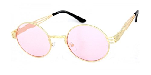 Round Classic Oval Luxury Steampunk Sunglasses (Metallic Gold Frame, - 90s Hipster
