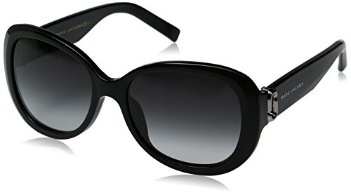 Marc Jacobs Women's Marc111s Oval Sunglasses, BLACK/DARK GRAY GRADIENT, 56 -