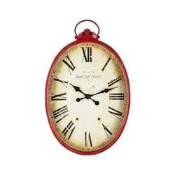 Red Metal Oval Wall Clock with HandleNew by: CC