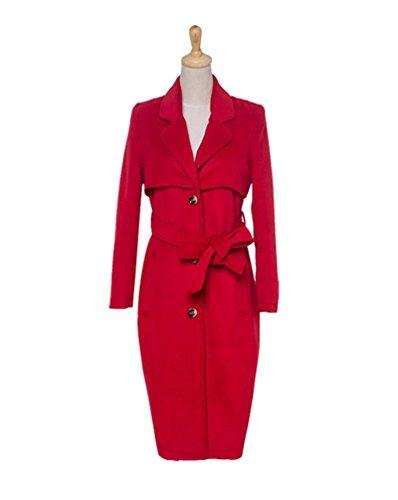 Revers Manteaux Coat Rouge Longue Femme Boutonnage Baymate Célibataire Avec Trench Mode Ceinture qAwpXHnOUx