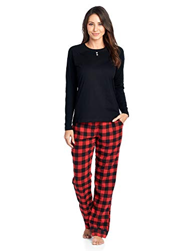 - Ashford & Brooks Womens Cotton Long-Sleeve Top and Flannel Bottom Pajama Set - Red Buffalo Check - 3X-Large