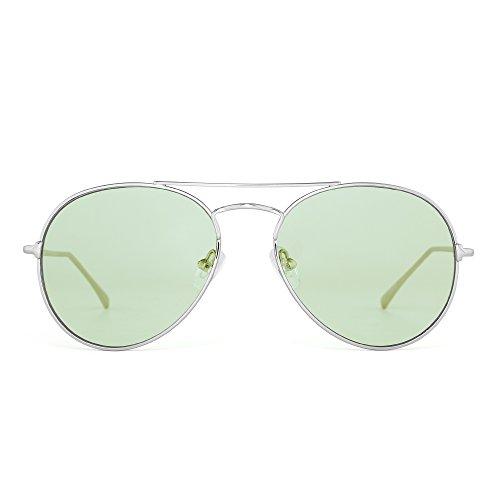 Clear Aviator Sunglasses Classic Flat Tinted Lens Metal Eyeglasses Men Women (Silver / Transparent - Tinted Sunglasses Green