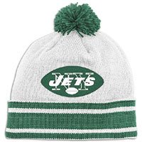 New York Jets Throwback Jersey Stripe Cuffed Knit Hat w/ -