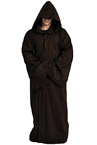 Joyshop Mens Halloween Witch Cosplay Robe Costume Adult Hooded Cloak Cape,Brown,Medium -