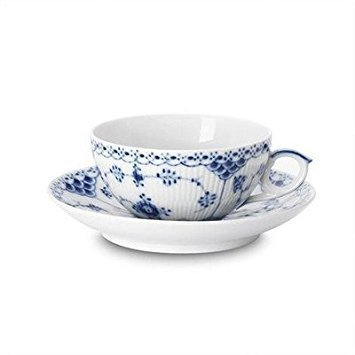 Royal Copenhagen Blue Fluted Half Lace 6.75 oz. Teacup and Saucer
