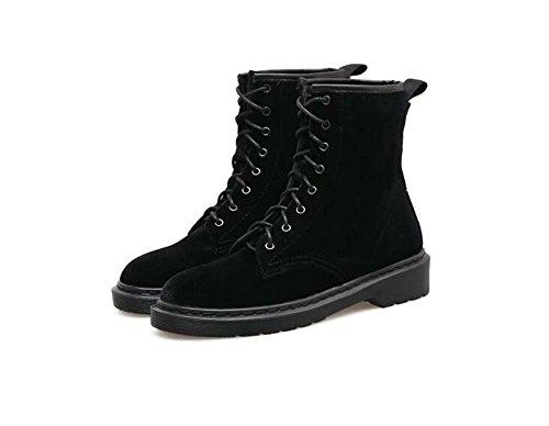 Onfly 3cm Chunkly Heel Martin Botas Mujer Hermosa Toe Redonda Seude Pure Color Shoelace Vestido Botas Corte Zapatos Tamaño EU 35-40 Black