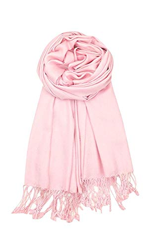 (AN Womens Pashmina Shawl Scarf with Tassels Silk Soft Fashion Accessory)