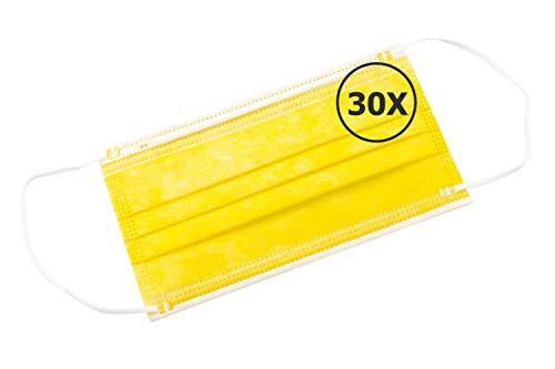 🥇 TBOC Mascarilla Higiénica No Reutilizable – [Pack 30 Unidades] Máscara 3 Capas [Amarillo] Ligera Suave y Transpirable [Desechables] con Pinza Nasal Protección Facial [Alta Filtración]
