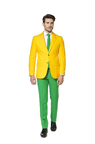 Mens 'Green and Gold' Party Suit and Tie by OppoSuits, 46