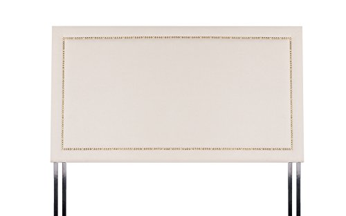 DIVANO ROMA FURNITURE Classic Deluxe Tufted Fabric Headboard with Nailhead Trim (Queen, Ivory)
